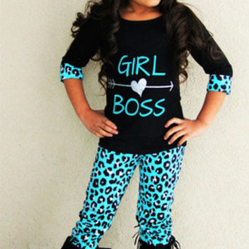 "Girls Boutique Outfit ""Girl Boss"" Teal Leopard Pant Set Toddler Boutique Outfit"