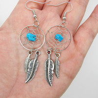 Dreamcatcher Earrings  / Feather Earrings /  Twilight Inspired /  Blue Bead Earrings / Native American Jewelry