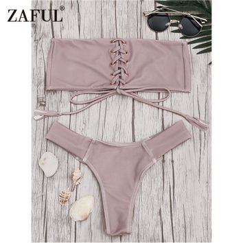 Zaful 2017 Women Eyelets Lace Up Bandeau Bikini Set Sexy Low Waist Bandeau Collar Swimsuit Solid Brazilian Bralette Sewimwear
