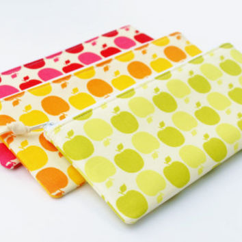 Apple Pencil Case, Fabric Zipper Case, Back to School, Red, Green, or Golden Apple, Your Choice