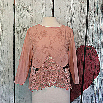 Earthy Romantic Hand Dyed Women's Shirt | Dusty Rose Top | Ladies Lace Clothing | Open Back Clothes