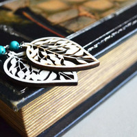 Cutout Wood Earrings. Bohemian Nature Inspired.Wood Leaf Turquoise Bead. Wooden Jewelry.