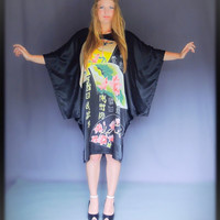 Black silky oriental caftan /bright avante garde dress silk blend with kimono sleeves and intense motif