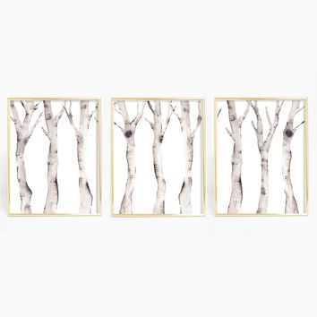 Minimalist Birch Tree Watercolor Triptych Wall Art Print