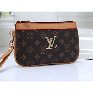 LV Fashion Ladies'Colour-matching Printed Bags Hot Selling Handbags Coffee + khaki