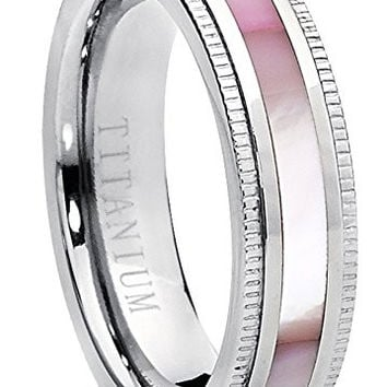 Titanium Women's Pink Hues Mother of Pearl Inlaid Band Ring, Comfort Fit, 5mm Sizes 5 to 9