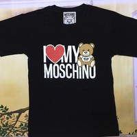 "Moschino Black ""I LOVE MY Moschino Bear"" Fashion Women T Shirt"