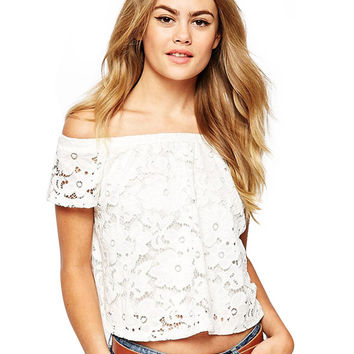 White Bare Shoulder Floral Lace Crop Top