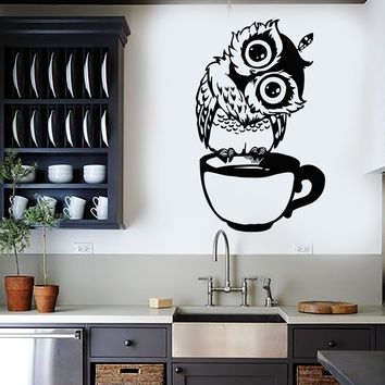 Vinyl Wall Decal Funny Cartoon Owl Cup Of Tea Coffee For Kitchen Stickers (2559ig)