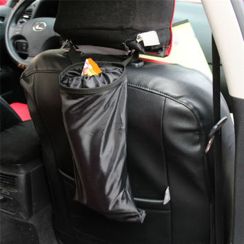 Car Trash Can Bin Garbage 210D Oxford Black Seat Organizer Bags Waterproof Travel Storage Hanging Bag Stowing Tidying Car Bin