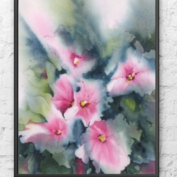 Abstract Watercolor, Pink Wall Art Watercolor Painting Print, Pink Painting, Pink Flower Print,11x14 13x19 8x10 5x7 Nursery Wall Hanging Art