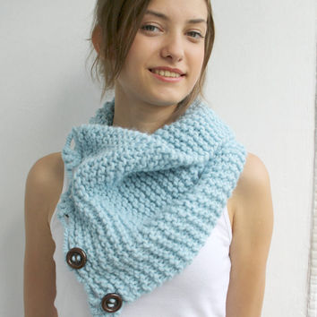 FREE SHIPPING Blue Scarf Shawl Neckwarmer Cowl Mothers Day gift for women girls gift Under50