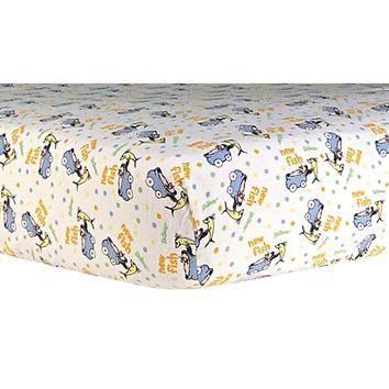 Dr. Seuss One Fish Two Fish Deluxe Flannel Fitted Crib Sheet