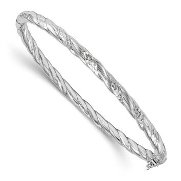 Leslies Sterling Silver Polished and Diamond-cut Hinged Bangle