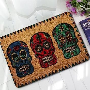 "Skull Skulls Halloween Fall New Halloween Doormats Funny Sign ""Welcome""  Head Home Decorative Door Mats Magic Welcome Floor Mats Front Porch Rugs LYN19 Calavera"