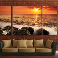 Digital canvas print, Framed 3 panels digital canvas print, ready to hang on wall beach sunset ocean canva print