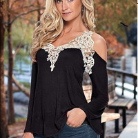 Black Lace Cutout-Should Long Sleeve Shirt