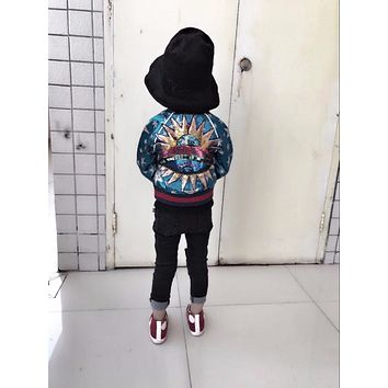 2017 Winter kids coat embroidered flares girls outerwear baby winter coat boy girls winter jacket cotton padded kids clothing