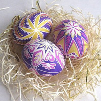 set of 3 Pink pysanky chicken egg shell by UkrainianEasterEggs