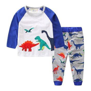 jumping meters Baby boys clothing sets animals applique long sleeve tops + pants autumn children clothes suits for boy girl set