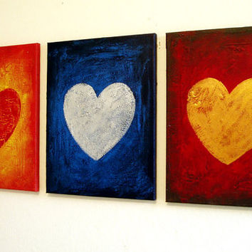 "large wall art romantic 3 panel gift sculpture heart triptych canvas  ""three of hearts"" 3 panel art Abstract Painting Impasto"