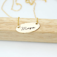 Hand Stamped Jewelry Personlized Oval Name Necklace - Celebrity Inspired Jewelry - Nugold Jewelry