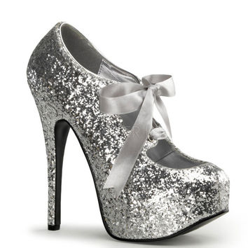 Bordello Silver Glitter Stiletto Platforms