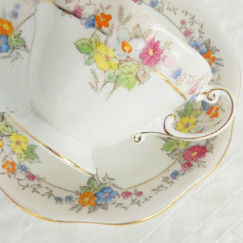 Vintage Foley Tea Cup and Saucer Set, Tea Party, Downton Abbey, Fine English Bone China, Housewarming Gift Inspired