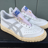 Mint 80's Vintage Asics Tiger White Gray Leather Basketball Sneaker Trainers SZ 7