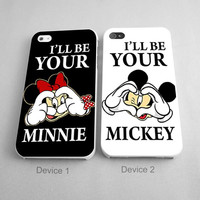 I'll be your minnie and mickey Cute Couples Phone Case iPhone 4/4S, 5/5S, 5C Series, iPhone 6, 6plus - Hard Plastic, Rubber Case