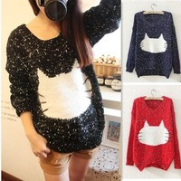 Cute Trendy Cat Head Knit Sweaters from Crazy Cats