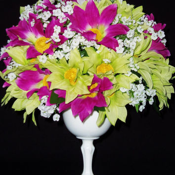 Silk Flower Arrangement, Pink & Green Daisies, Milk Glass Vase, Spring Floral Arrangement, Silk Floral Arrangement, Artificial Flowers,