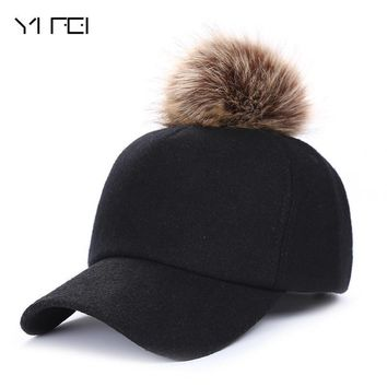 Trendy Winter Jacket Autumn Winter Hip Hop Felt Baseball Cap Women Thick Warm Bone Snapback Hat Female Fashion Polyester Fur Pom Pom Hats AT_92_12