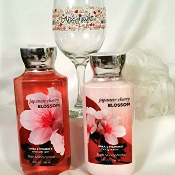 Bath and Body Works Japanese Cherry Blossom Shower Gel and Lotion, Mesh Bath Sponge, Girls Night Wine Glass