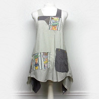 Long Cotton Pinafore, Shabby Chic Smock Tunic, Lagenlook Style Clothing, Sustainable Upcycled Clothing for Women by Primitive Fringe