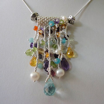 silver bead pendant with multi color gemstones,  pendant silver chain,  Seed Bead Jewelry,  beadwork jewelry. spring jewelry