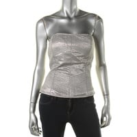 Catherine Malandrino Womens Metallic Bustier Strapless Top