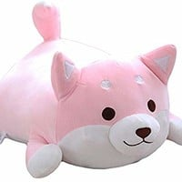 Shiba Inu Dog Plush Pillow,Soft Cute Corgi Stuffed Animals Doll Toys Gifts for Valentine, Christmas, Birthday, Bed, Sofa Chair (Pink Round Eye, 21.3in)
