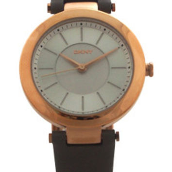 NY2296 Stanhope Gray Leather Strap Watch by DKNY (Women)