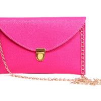 Leather Envelope Clutch Epic Pockebook with optionl Chain Sholder Strap - Hot Pink