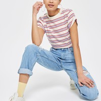 Striped Roll Sleeve T-Shirt - New In Fashion - New In