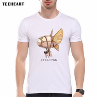 Men's Fashion Short Sleeve O Neck Steampunk Pug Printed T-shirts Funny Tee Shirts Hipster Tops
