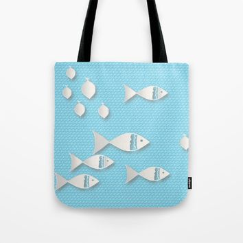 Fishes & Waves Tote Bag by Mirimo