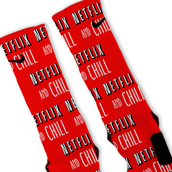 Netflix And Chill Custom Nike Elite Socks
