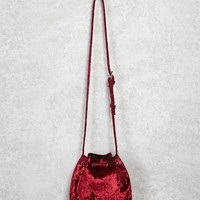 Velvet Crossbody Bucket Bag