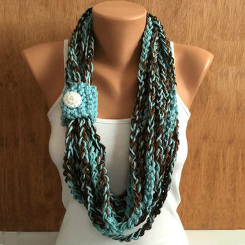 earh and sky colors crochet chain Infinity scarf colors - necklace scarf gift or for you