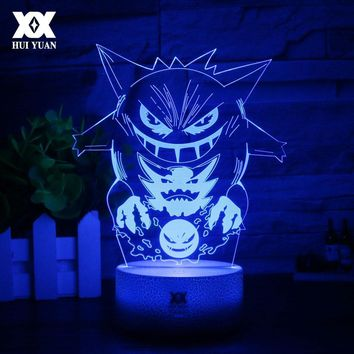 New  Gengar 3D Lamp Cool Colorful LED Night Light USB White Base Cartoon Decorative Desk Lamp Child Christmas GiftKawaii Pokemon go  AT_89_9