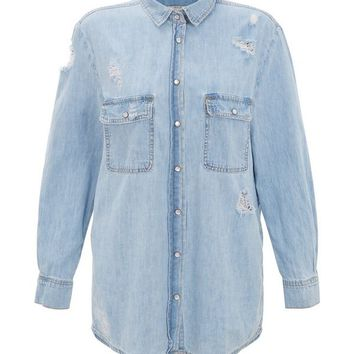 Blue Ripped Denim Boyfriend Shirt