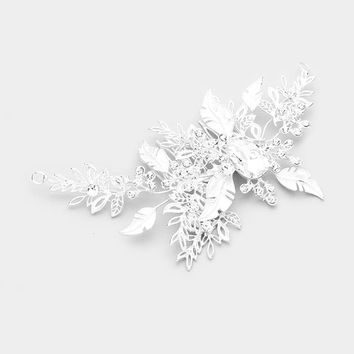Crystal Teardrop Accent Floral Leaf Metal Cluster Hair Comb