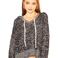 West Coast Wardrobe Never Stop Crop Hoodie Sweater in Charcoal